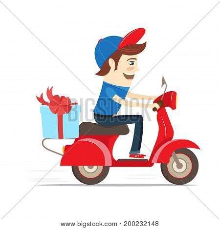 Funny delivery boy delivering gift box with bow by red retro scooter. Flat design. Vector illustration.