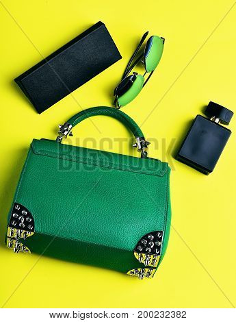 Small Womans Leather Green Bag With Sunglasses, Perfume And Case