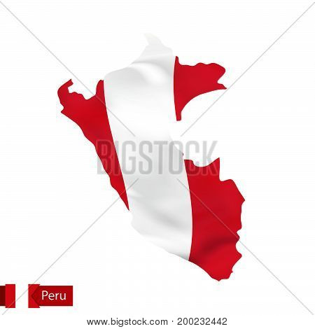 Peru Map With Waving Flag Of Country.