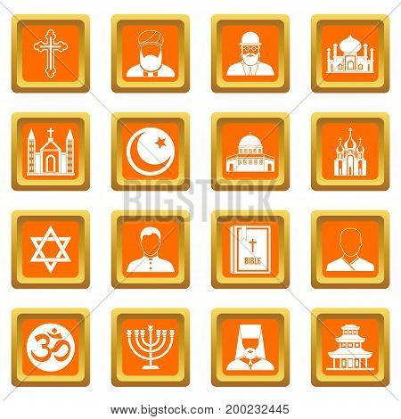Religious symbol icons set in orange color isolated vector illustration for web and any design