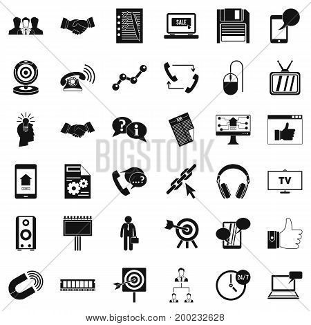 Exchange link icons set. Simple style of 36 exchange link vector icons for web isolated on white background