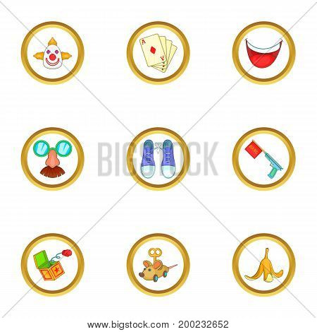 Circus icons set. Cartoon illustration of 9 circus vector icons for web design