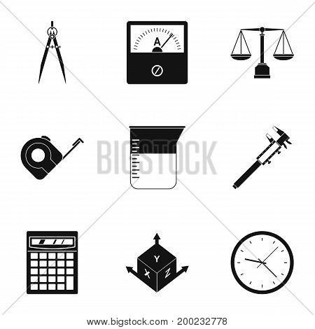Measure tools icon set. Simple style set of 9 measure tools vector icons for web isolated on white background