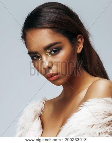 young beauty african american sensual woman with fashion make up, emotional face closeup