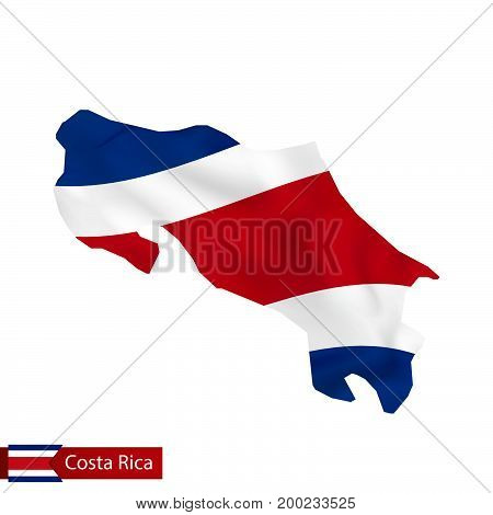 Costa Rica Map With Waving Flag Of Country.