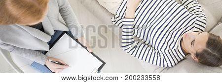 Woman Taking Psychoanalysis Session