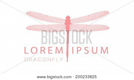 Business Card Or Visiting Card Template With Pink Dragonfly Logo Element. Vector Design Editable Lay