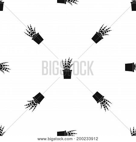 Succulent pattern repeat seamless in black color for any design. Vector geometric illustration