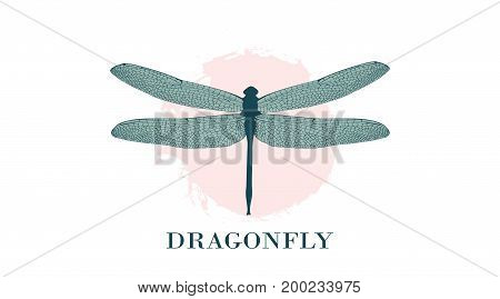 Dragonfly Logo Design Template. A Colorful Dragonfly On A Background Of Pastel Splashes, Watercolor