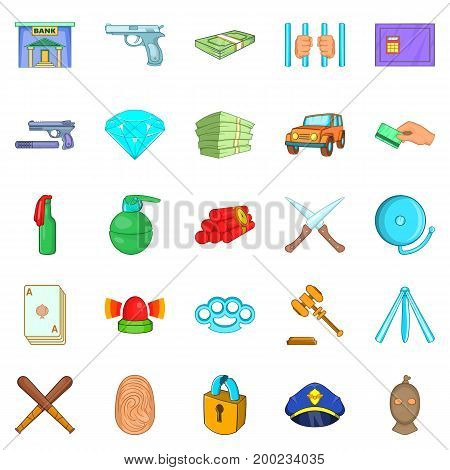 Delinquency icons set. Cartoon set of 25 delinquency vector icons for web isolated on white background