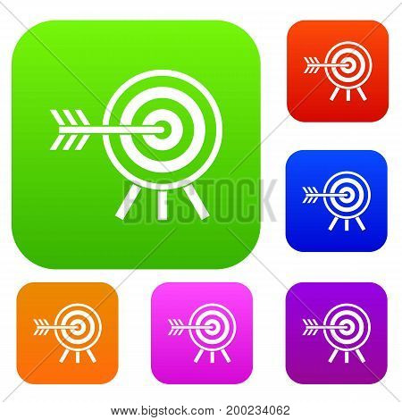 Darts set icon in different colors isolated vector illustration. Premium collection
