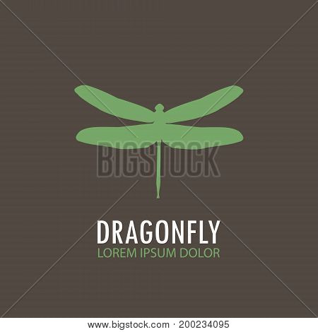Logo - Green Dragonfly. Vector Logo Template Profile Of A Dragonfly. Object Isolated On Brown Backgr