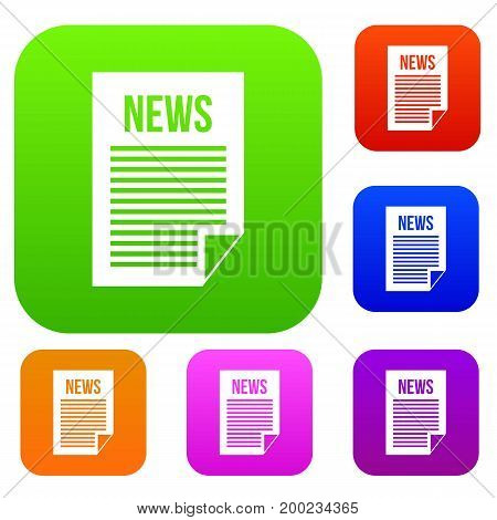News newspaper set icon in different colors isolated vector illustration. Premium collection