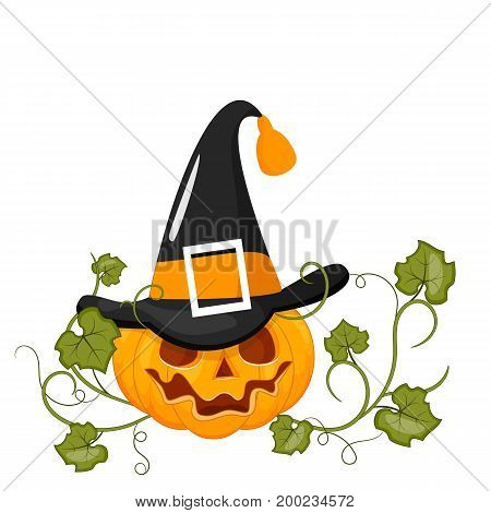 Happy Halloween Stock vector. Cartoon pumpkin smiles. Isolated white background.