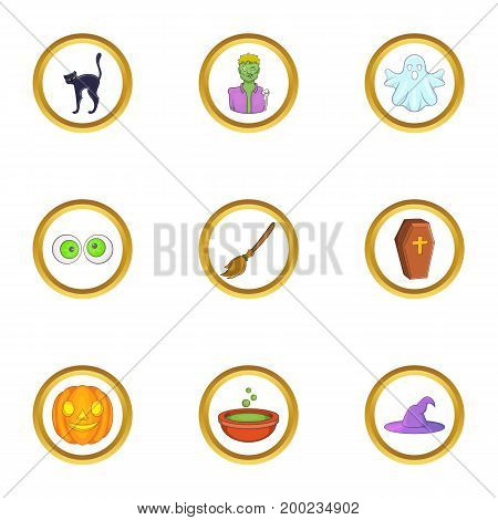 Halloween element icon set. Cartoon style set of 9 halloween element vector icons for web isolated on white background