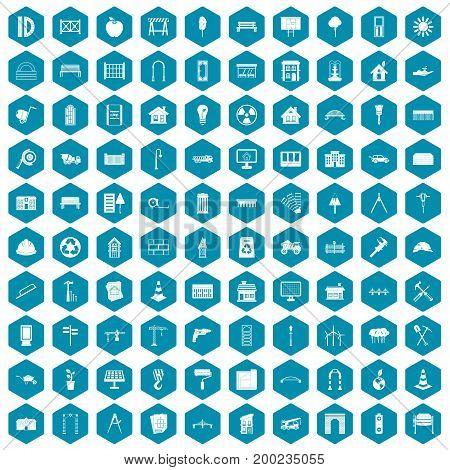 100 architecture icons set in sapphirine hexagon isolated vector illustration
