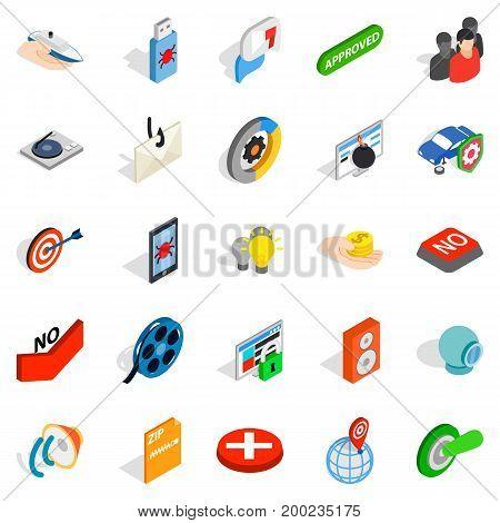 Hidden information icons set. Isometric set of 25 hidden information vector icons for web isolated on white background
