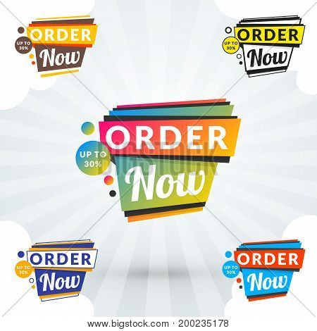 Set Of Discount And Promotional Sale Origami Stickers. Folded Paper With Advertising Tags