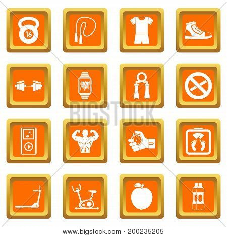 Fitness icons set in orange color isolated vector illustration for web and any design
