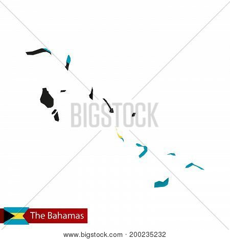 The Bahamas Map With Waving Flag Of Country.