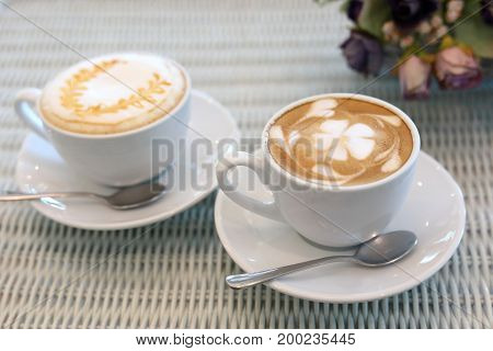 Latte Hot Coffee Drink And Caramel Macchiato Tasty In Cafe Restaurant