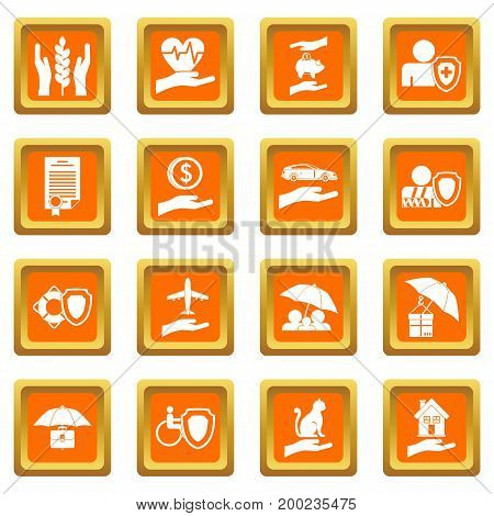 Insurance icons set in orange color isolated vector illustration for web and any design