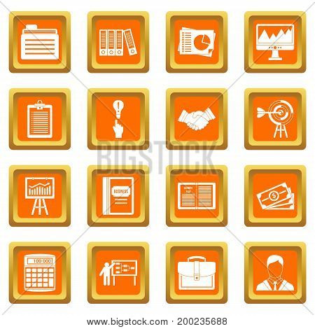 Business plan icons set in orange color isolated vector illustration for web and any design