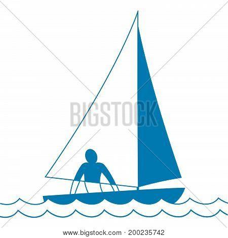 Small sailing boat. Sloop. Ship coming through waves under sail. Man on board. Vector illustration