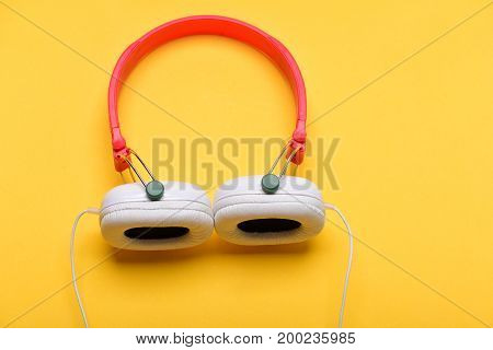 Headset For Music Made Of Plastic. Modern And Stylish Earphones