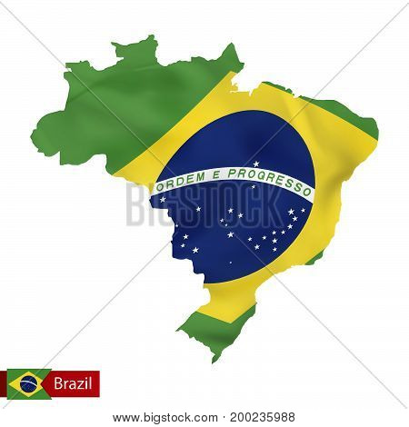 Brazil Map With Waving Flag Of Country.