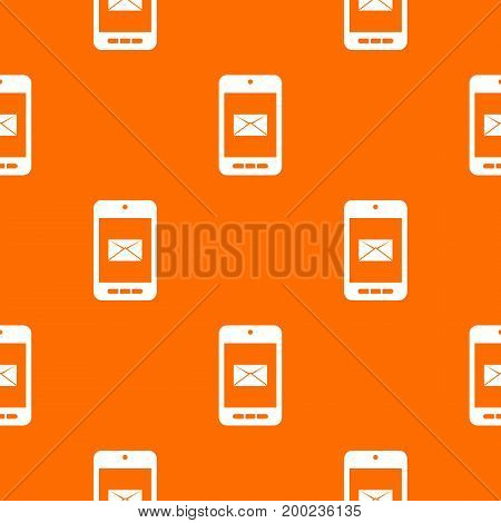 Smartphone with email symbol on the screen pattern repeat seamless in orange color for any design. Vector geometric illustration