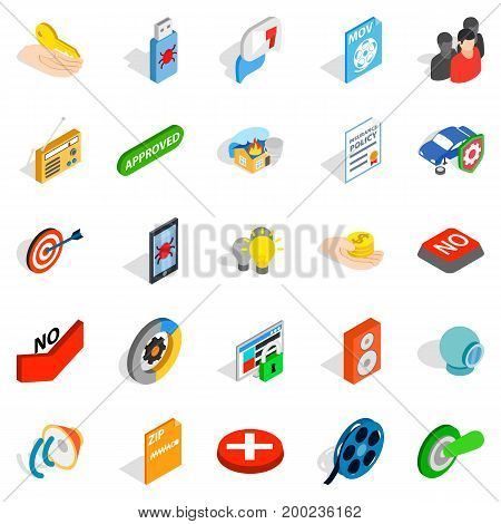 Computer security icons set. Isometric set of 25 computer security vector icons for web isolated on white background