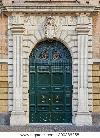 Old Green Door In Rome, Italy