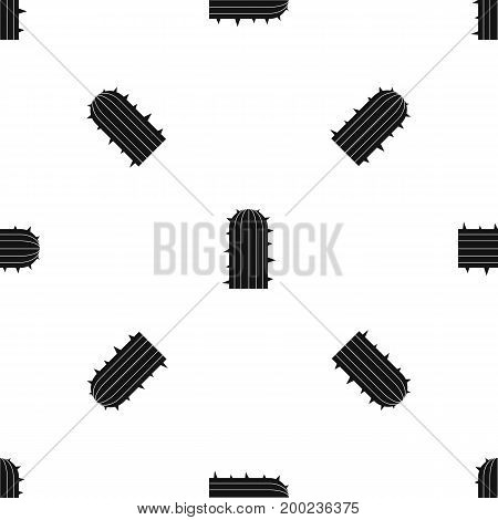Plant of desert pattern repeat seamless in black color for any design. Vector geometric illustration