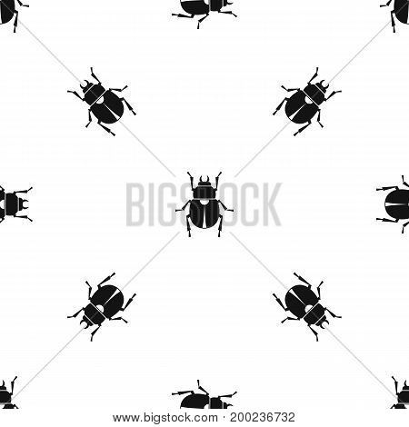 Scarab pattern repeat seamless in black color for any design. Vector geometric illustration