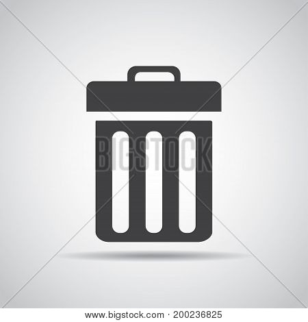 Delete icon with shadow on a gray background. Vector illustration