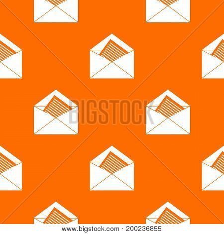 Open envelope with sheet of paper pattern repeat seamless in orange color for any design. Vector geometric illustration