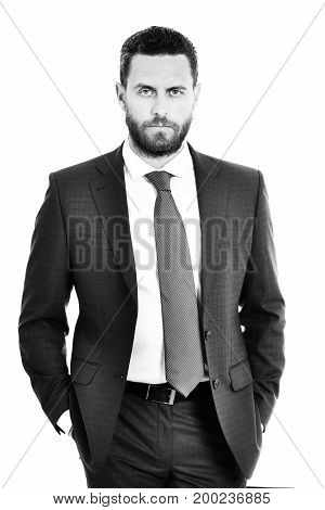 Man Or Businessman With Serious Face In Blue Jacket, Tie