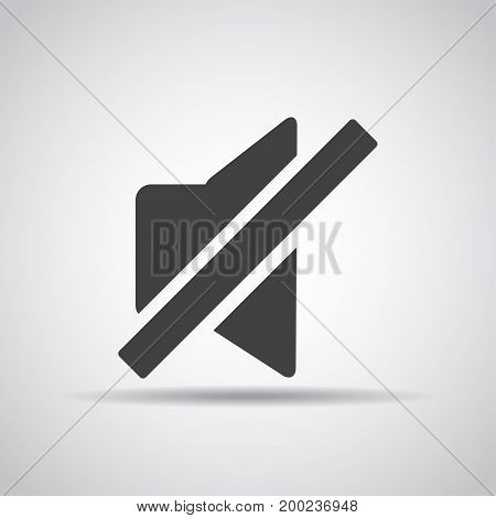 Silent icon with shadow on a gray background. Vector illustration