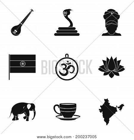 Indian symbols icon set. Simple style set of 9 indian symbols vector icons for web isolated on white background