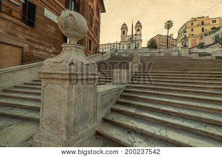Old photo with Spanish Steps from Piazza di Spagna in Rome Italy. In background is Church of Trinita dei Monti and Egyptian obelisk.