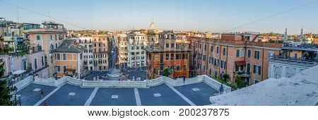 ROME ITALY - MAY 31 2017: Panoramic view with famous Spanish Steps from Piazza di Spagna at morning light.