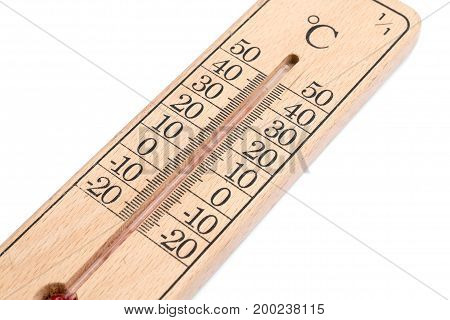 wooden celsius thermometer isolated on white background