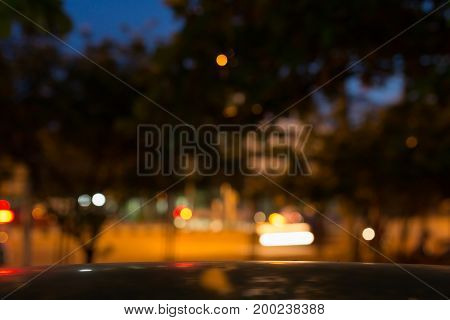 Night Light Of Roadside In The City Street, Abstract Blur Bokeh Background