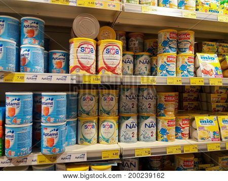 11.08.2017. Malta, Valyou supermarket, diferent tipes of baby formula milk on the shelf what to chose