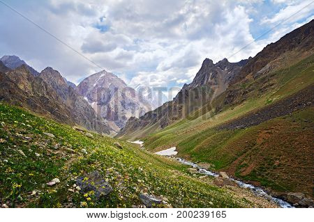 Landscape Of Beautiful High Fan Mountains In Tajikistan