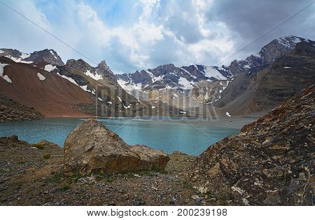 Landscape Of Beautiful High Rocky Fan Mountains And Lake In Tajikistan