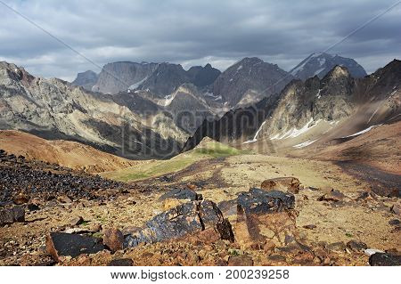 Landscape Of Beautiful Rocky Fan Mountains In Tajikistan