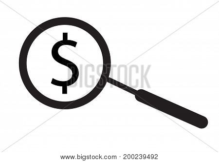 Search dollar money icon on white background. flat style design. search money sign.