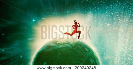 Fit brunette running and jumping against digitally composite image of colorful lights